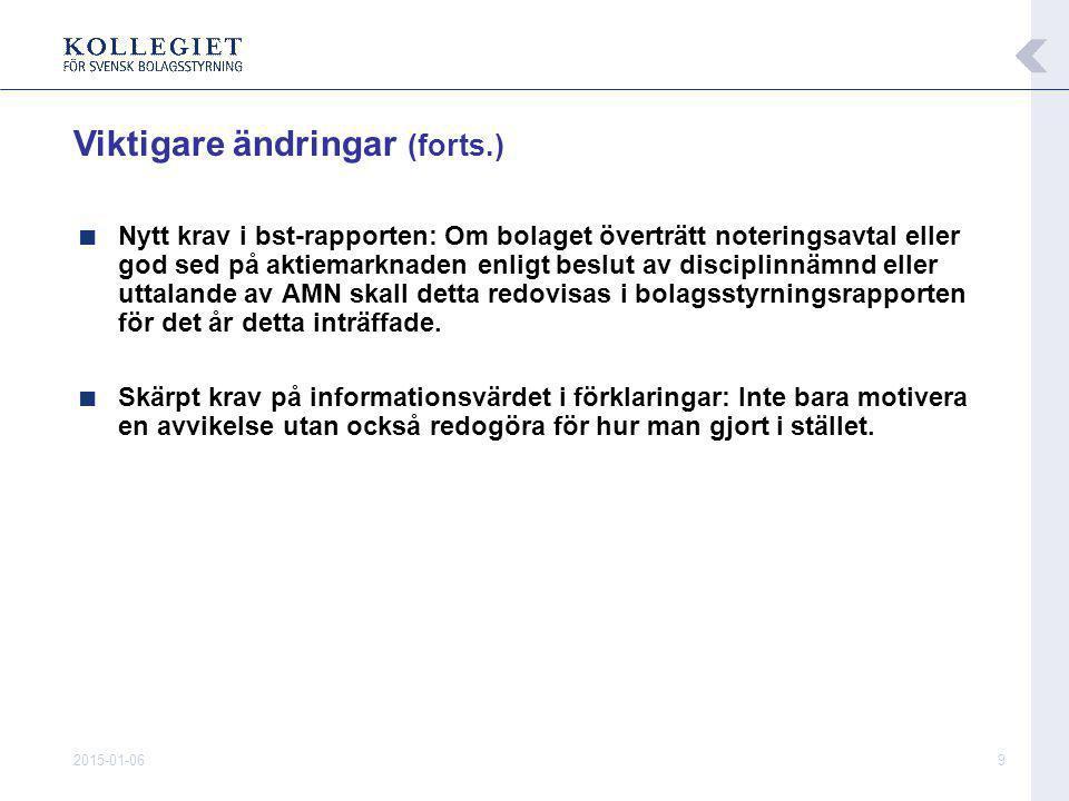 2015-01-0610 ■ Hittills ingått i Stockholmsbörsens noteringskrav ■ Från 1/7 god sed på aktiemarknaden att tillämpa koden  Börsnoterade bolag förpliktade genom noteringsavtalet att tillämpa koden Ändrad formell grund för förpliktelse att tillämpa koden