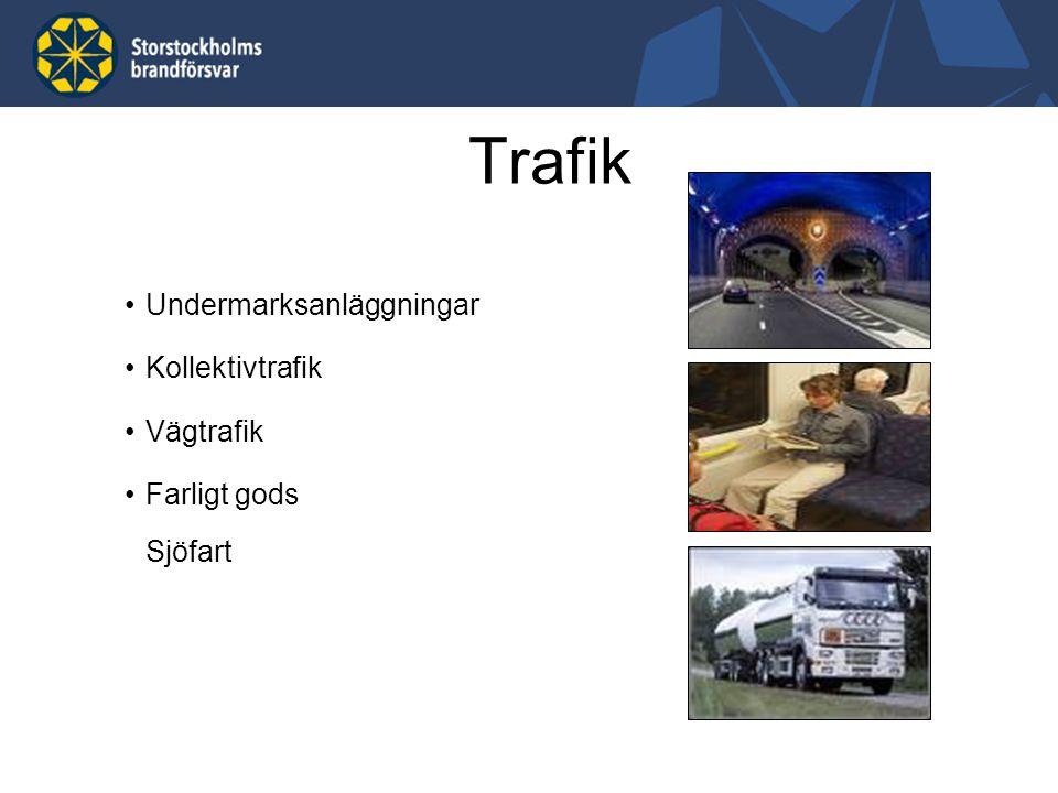 Undermarksanläggningar Kollektivtrafik Vägtrafik Farligt gods Sjöfart Trafik