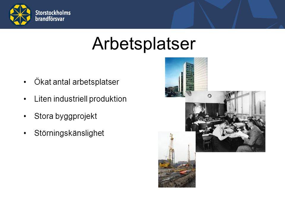 Ökat antal arbetsplatser Liten industriell produktion Stora byggprojekt Störningskänslighet Arbetsplatser