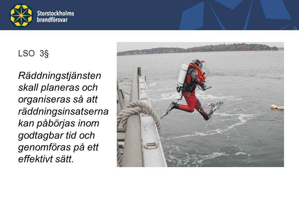 LSO 3§ Räddningstjänsten skall planeras och organiseras så att räddningsinsatserna kan påbörjas inom godtagbar tid och genomföras på ett effektivt sät