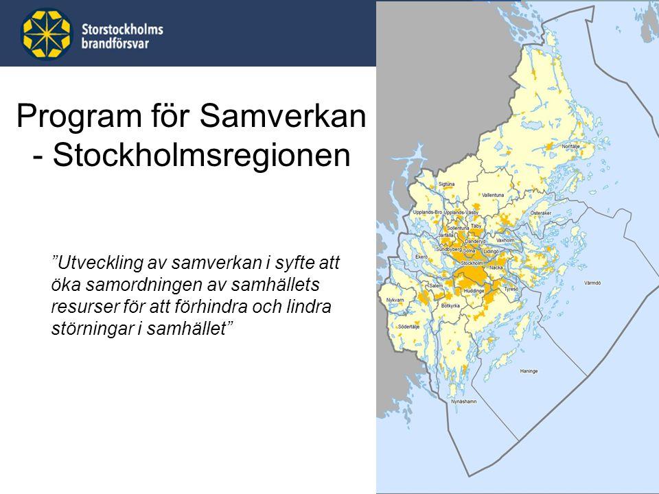 """Program för Samverkan - Stockholmsregionen """"Utveckling av samverkan i syfte att öka samordningen av samhällets resurser för att förhindra och lindra s"""