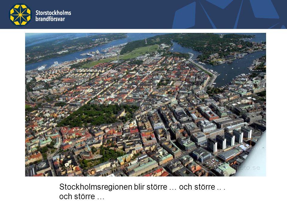 9 Storstockholm, en region i förändring Förändrad risk- och hotbild Regionen växer, boende och näringsliv har expanderat kraftigt.