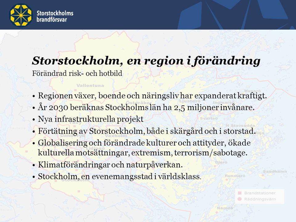9 Storstockholm, en region i förändring Förändrad risk- och hotbild Regionen växer, boende och näringsliv har expanderat kraftigt. År 2030 beräknas St
