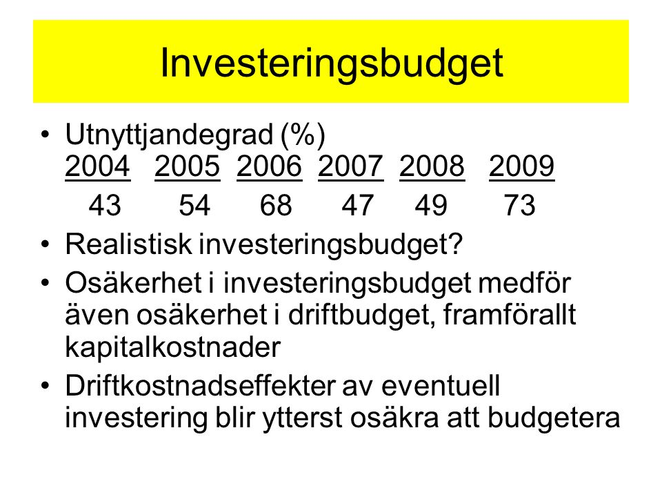 Investeringsbudget Utnyttjandegrad (%) 2004 2005 2006 2007 2008 2009 43 54 68 47 4973 Realistisk investeringsbudget? Osäkerhet i investeringsbudget me