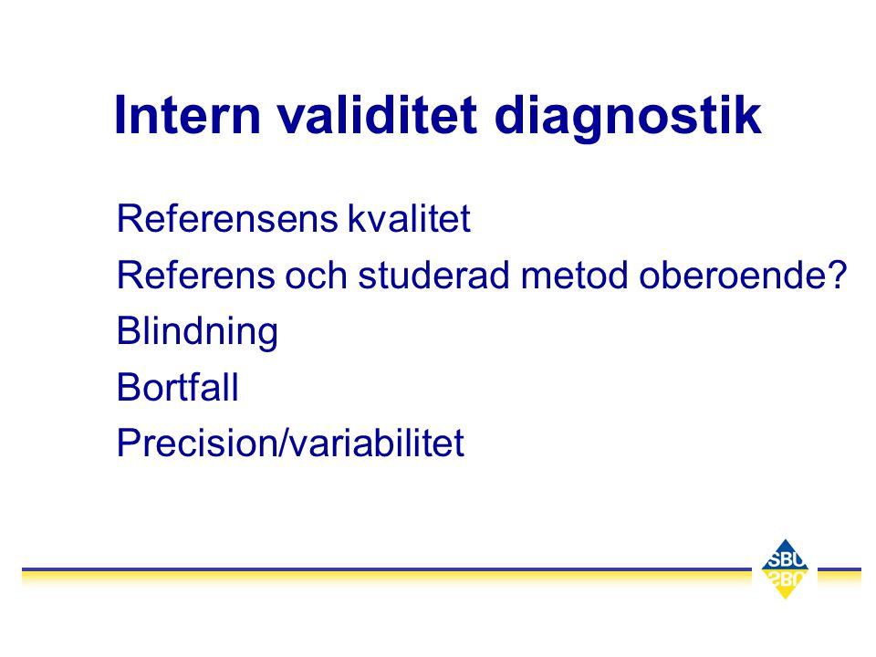 Intern validitet diagnostik Referensens kvalitet Referens och studerad metod oberoende? Blindning Bortfall Precision/variabilitet