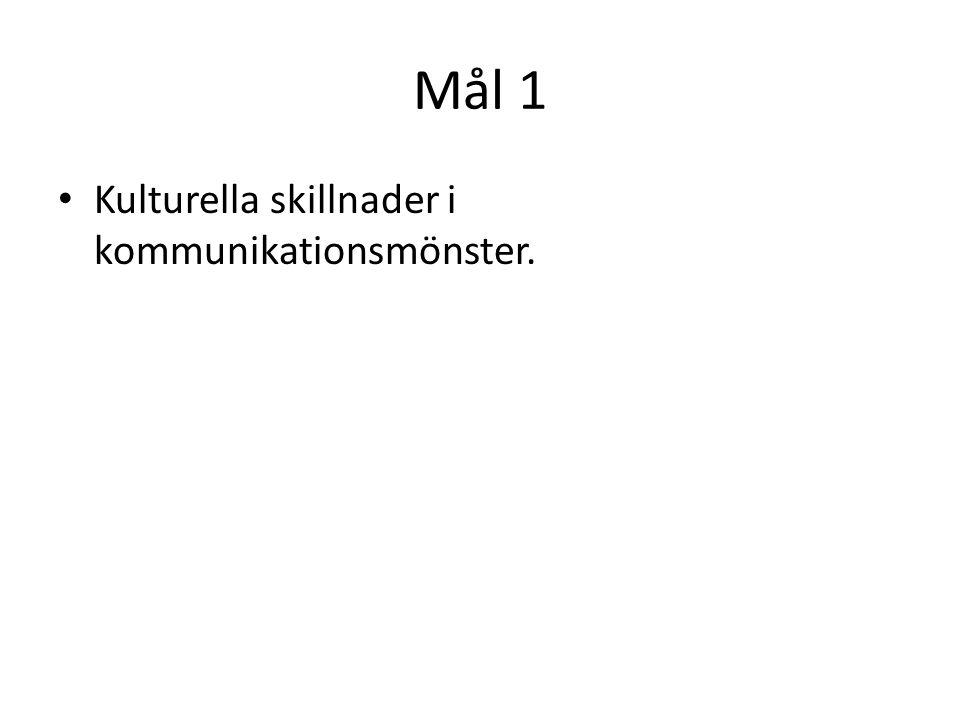 Mål 1 Kulturella skillnader i kommunikationsmönster.