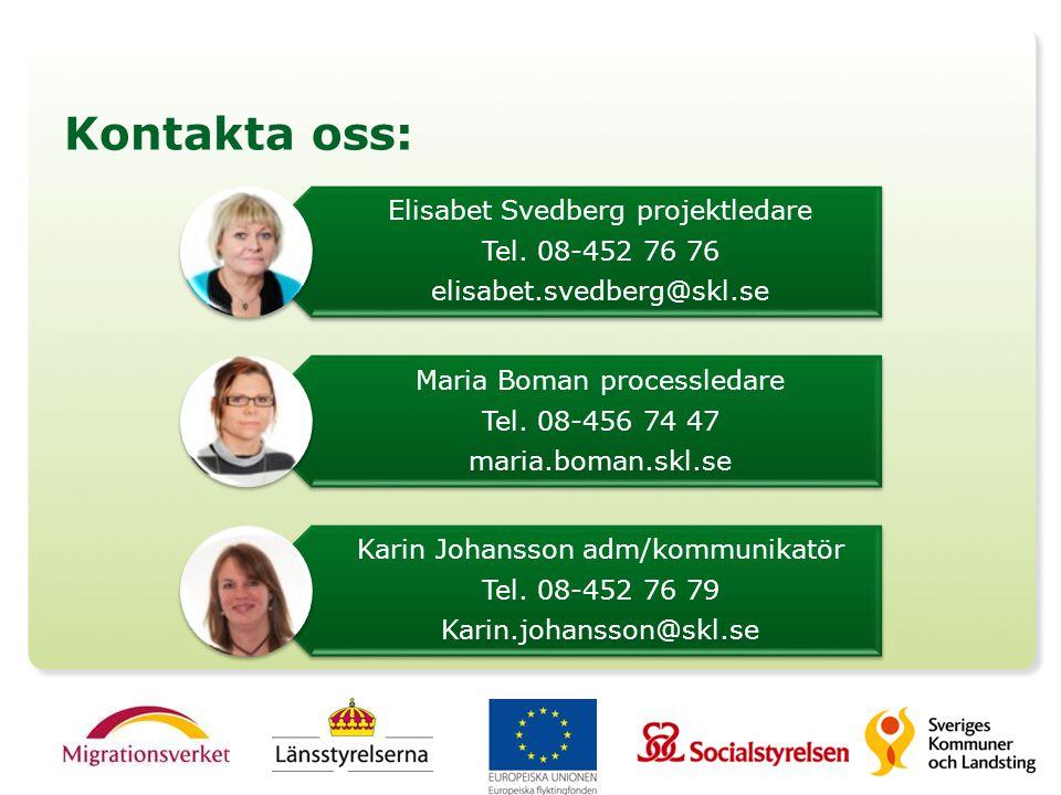 Kontakta oss: Elisabet Svedberg projektledare Tel. 08-452 76 76 elisabet.svedberg@skl.se Maria Boman processledare Tel. 08-456 74 47 maria.boman.skl.s