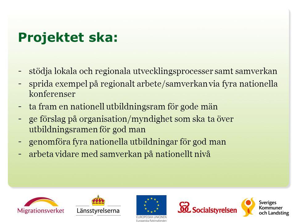 Projektet ska: - stödja lokala och regionala utvecklingsprocesser samt samverkan - sprida exempel på regionalt arbete/samverkan via fyra nationella ko