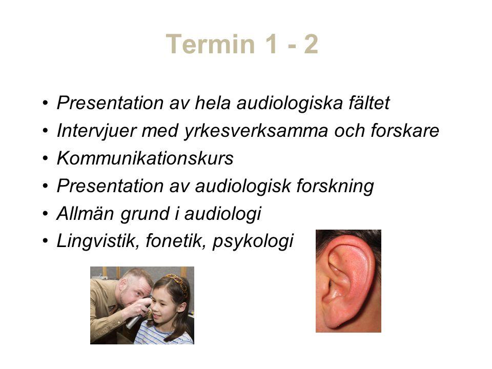 Termin 1 - 2 Presentation av hela audiologiska fältet Intervjuer med yrkesverksamma och forskare Kommunikationskurs Presentation av audiologisk forskning Allmän grund i audiologi Lingvistik, fonetik, psykologi