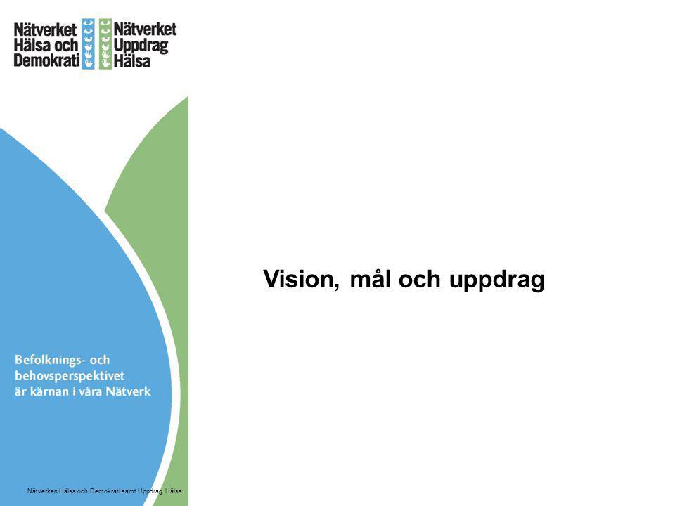 Vision, mål och uppdrag Nätverken Hälsa och Demokrati samt Uppdrag Hälsa