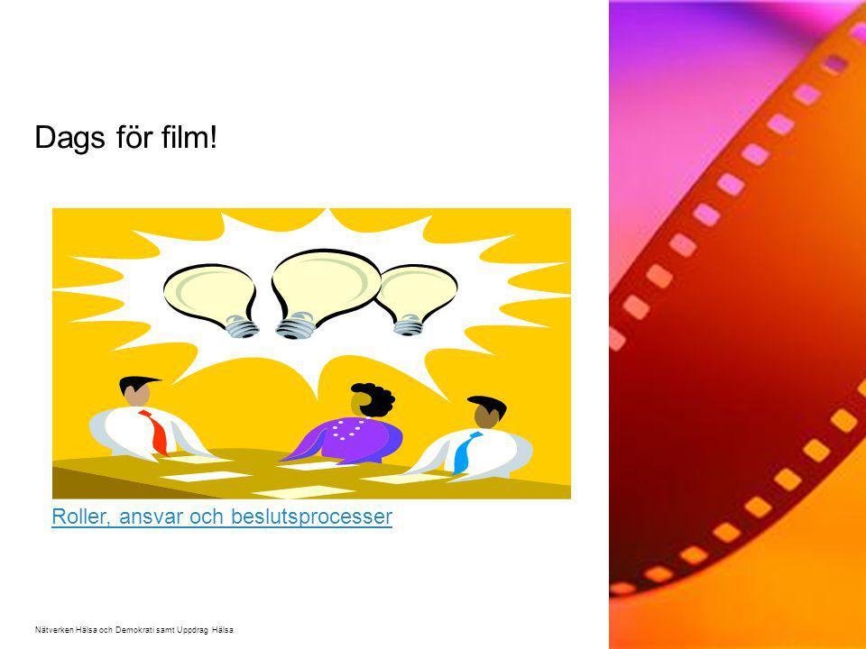 Dags för film! Nätverken Hälsa och Demokrati samt Uppdrag Hälsa Roller, ansvar och beslutsprocesser