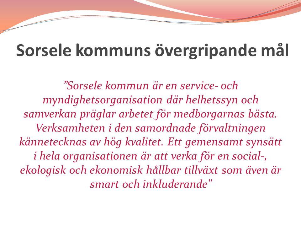 Sorsele kommuns övergripande mål Sorsele kommun är en service- och myndighetsorganisation där helhetssyn och samverkan präglar arbetet för medborgarnas bästa.