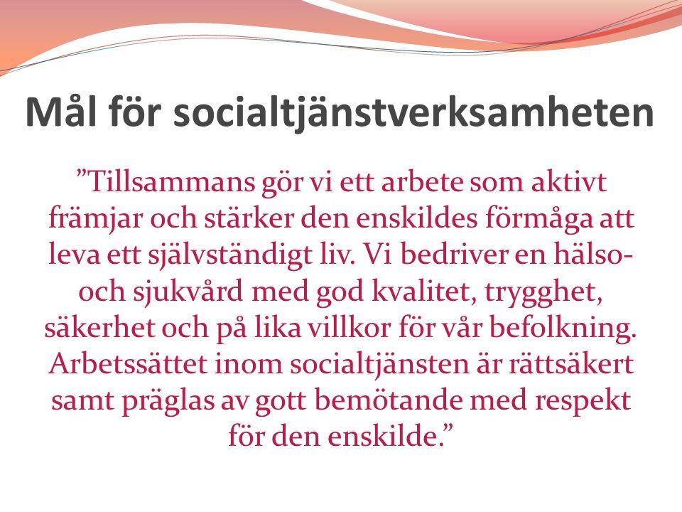 Mål för socialtjänstverksamheten Tillsammans gör vi ett arbete som aktivt främjar och stärker den enskildes förmåga att leva ett självständigt liv.