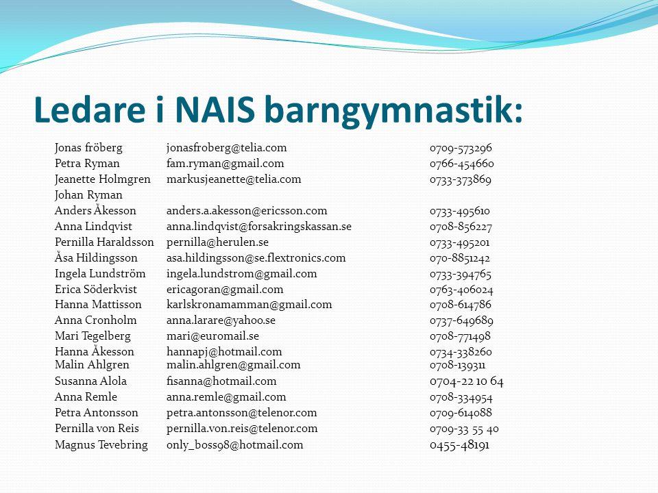 Ledare i NAIS barngymnastik: Jonas fröbergjonasfroberg@telia.com 0709-573296 Petra Rymanfam.ryman@gmail.com 0766-454660 Jeanette Holmgren markusjeanet