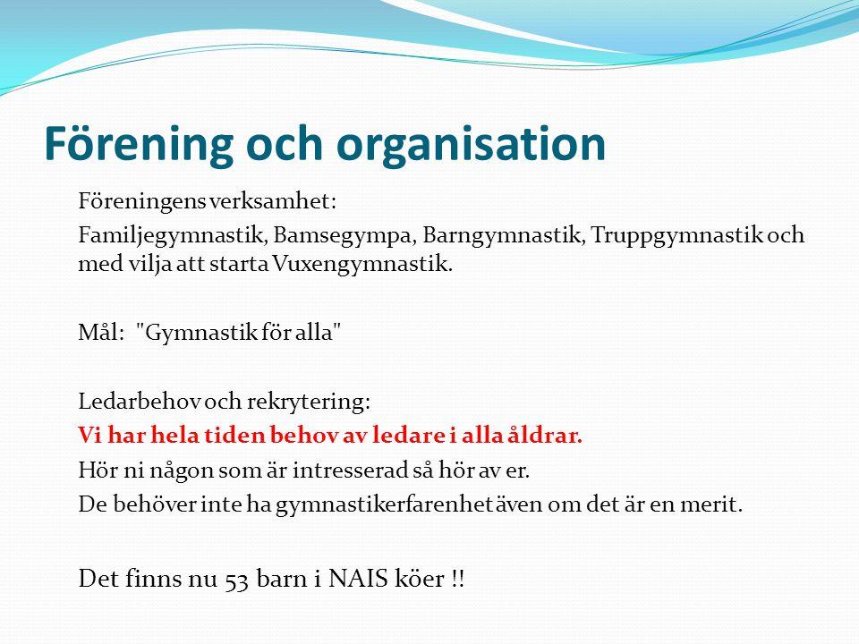 Förening och organisation Föreningens verksamhet: Familjegymnastik, Bamsegympa, Barngymnastik, Truppgymnastik och med vilja att starta Vuxengymnastik.