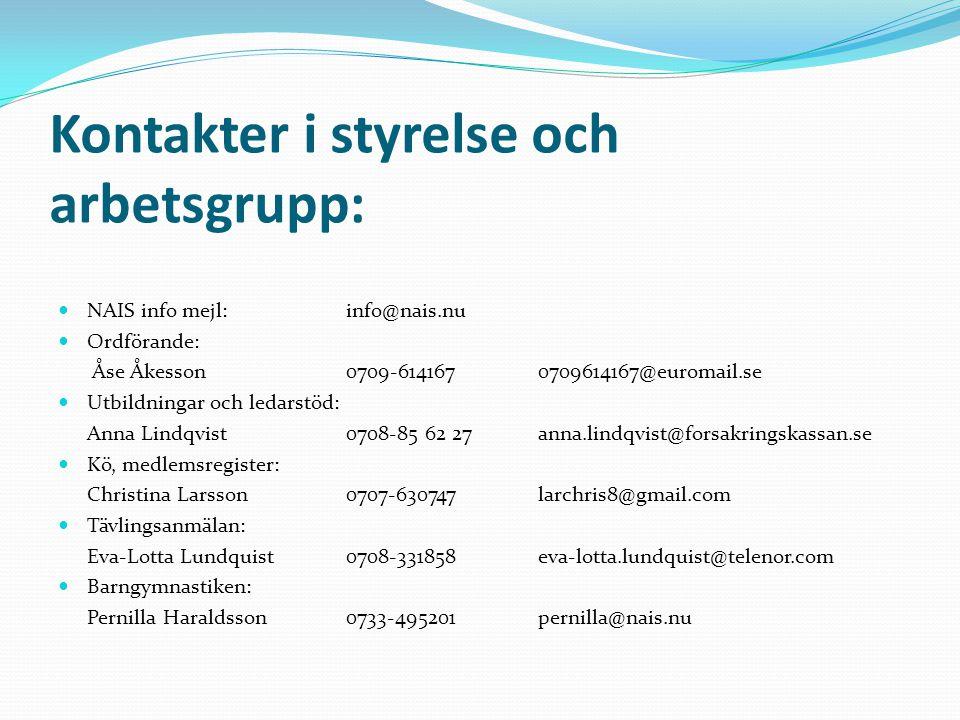 Kontakter i styrelse och arbetsgrupp: NAIS info mejl: info@nais.nu Ordförande: Åse Åkesson0709-6141670709614167@euromail.se Utbildningar och ledarstöd