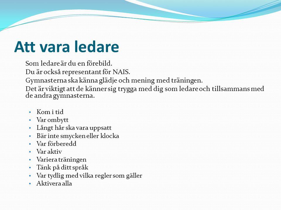 Att vara ledare Som ledare är du en förebild. Du är också representant för NAIS. Gymnasterna ska känna glädje och mening med träningen. Det är viktigt