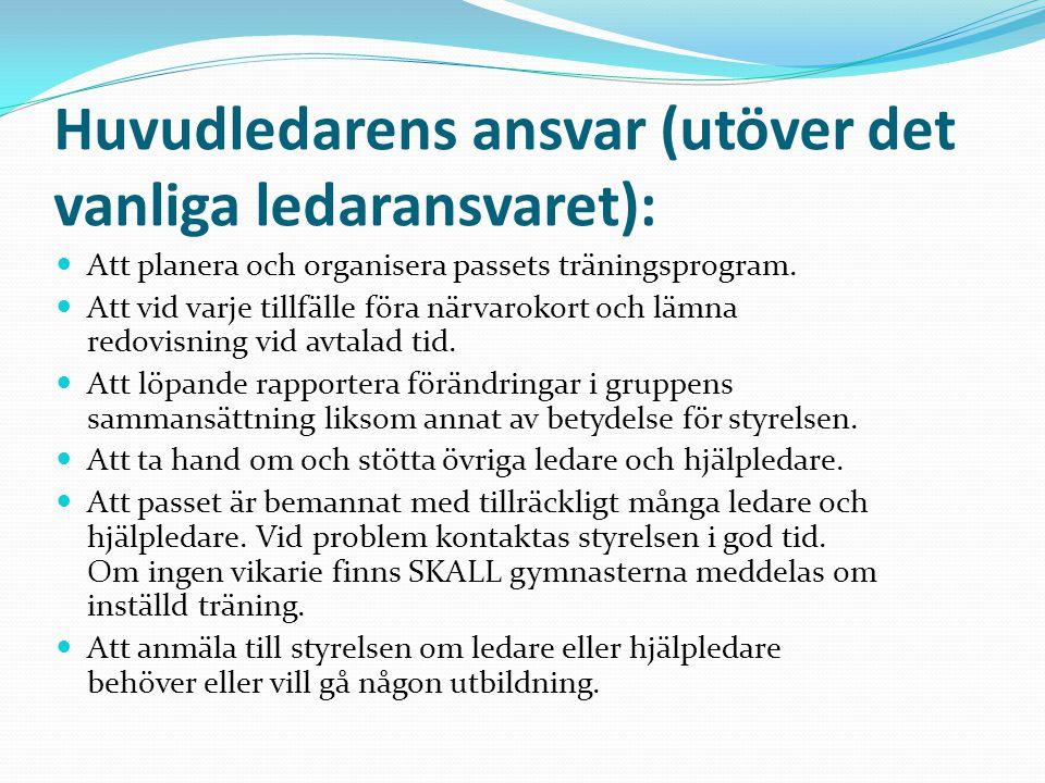 Ledarens ansvar: Hjälpa till med att planera passets träningsprogram.