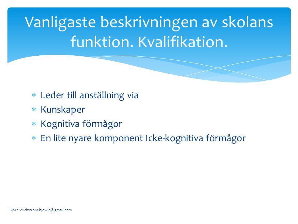  Leder till anställning via  Kunskaper  Kognitiva förmågor  En lite nyare komponent Icke-kognitiva förmågor Björn Wickström bjowic@gmail.com Vanligaste beskrivningen av skolans funktion.