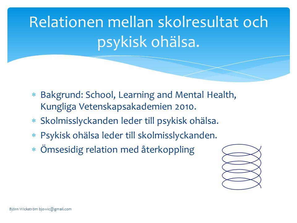  Bakgrund: School, Learning and Mental Health, Kungliga Vetenskapsakademien 2010.