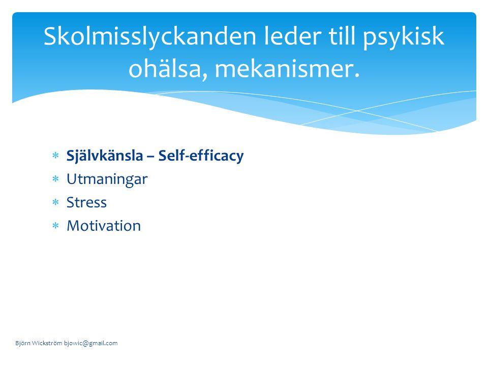  Självkänsla – Self-efficacy  Utmaningar  Stress  Motivation Björn Wickström bjowic@gmail.com Skolmisslyckanden leder till psykisk ohälsa, mekanismer.