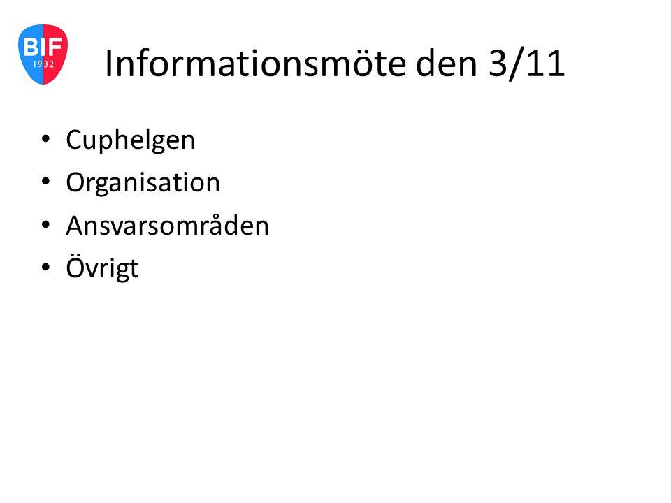 Informationsmöte den 3/11 Cuphelgen Organisation Ansvarsområden Övrigt