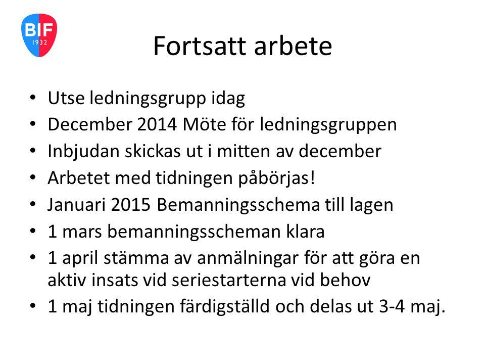 Fortsatt arbete Utse ledningsgrupp idag December 2014 Möte för ledningsgruppen Inbjudan skickas ut i mitten av december Arbetet med tidningen påbörjas.