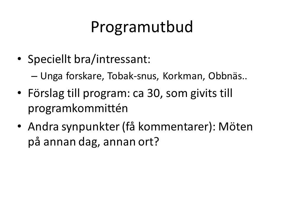 Programutbud Speciellt bra/intressant: – Unga forskare, Tobak-snus, Korkman, Obbnäs.. Förslag till program: ca 30, som givits till programkommittén An