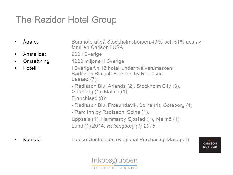 The Rezidor Hotel Group Ägare: Börsnoterat på Stockholmsbörsen.49 % och 51% ägs av familjen Carlson i USA Anställda: 900 i Sverige Omsättning: 1200 miljoner i Sverige Hotell: I Sverige f.n 15 hotell under två varumärken; Radisson Blu och Park Inn by Radisson.
