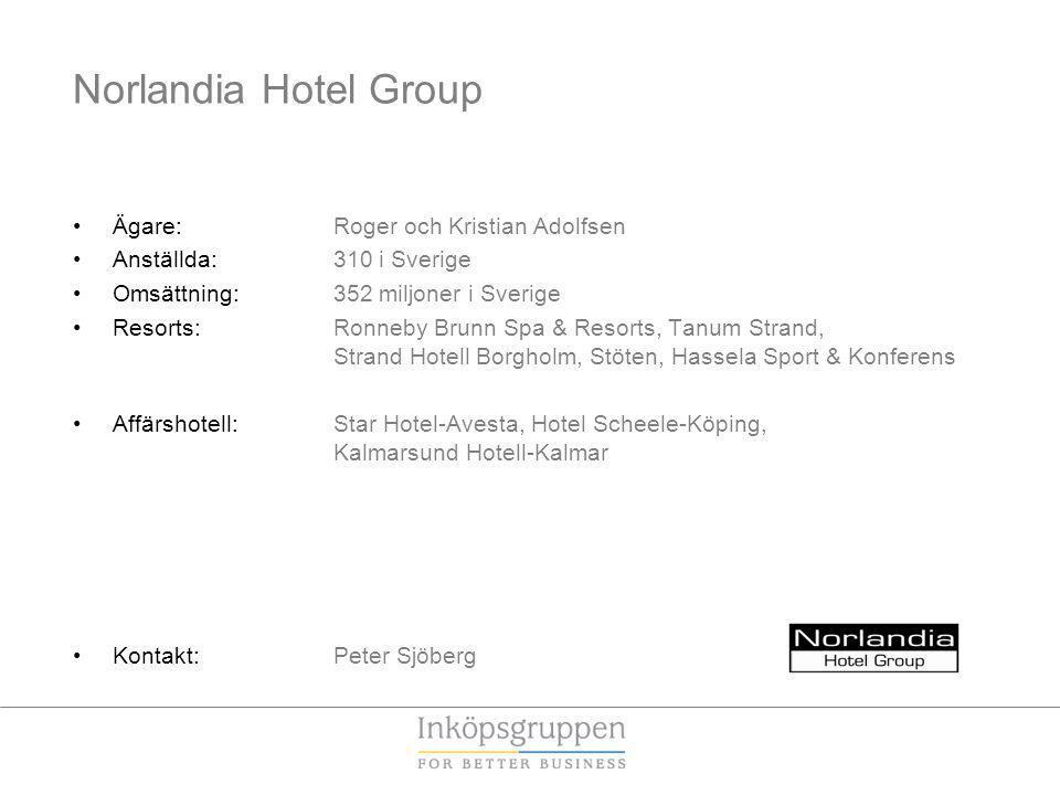 Norlandia Hotel Group Ägare: Roger och Kristian Adolfsen Anställda: 310 i Sverige Omsättning: 352 miljoner i Sverige Resorts: Ronneby Brunn Spa & Reso
