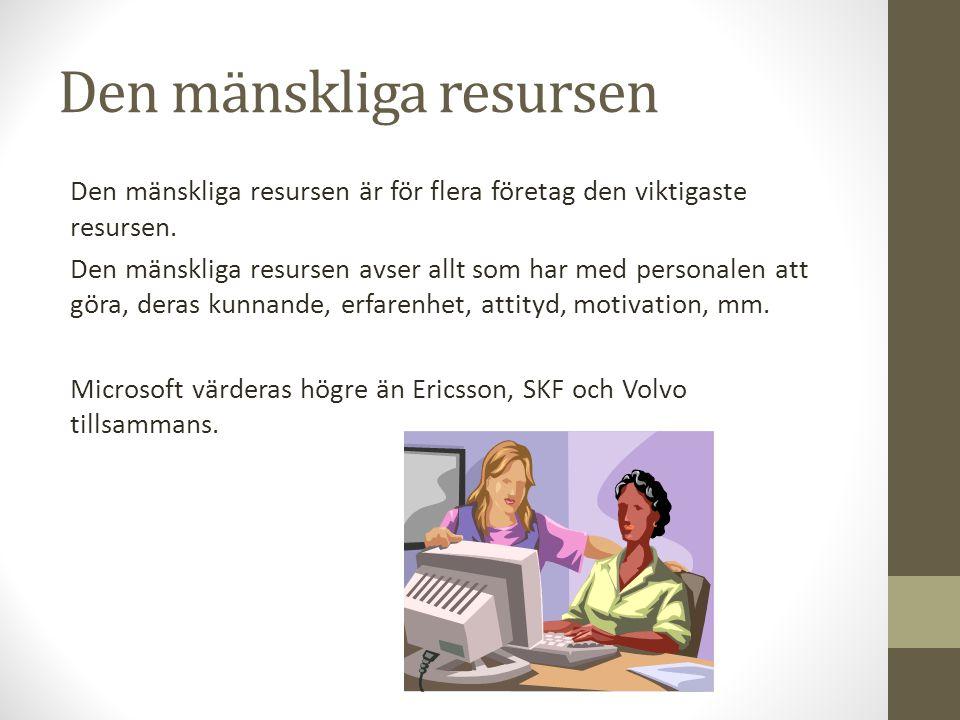 Den mänskliga resursen Den mänskliga resursen är för flera företag den viktigaste resursen. Den mänskliga resursen avser allt som har med personalen a