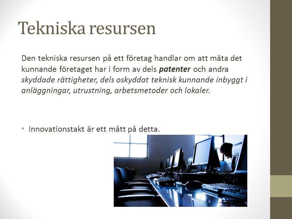 Tekniska resursen Den tekniska resursen på ett företag handlar om att mäta det kunnande företaget har i form av dels patenter och andra skyddade rätti