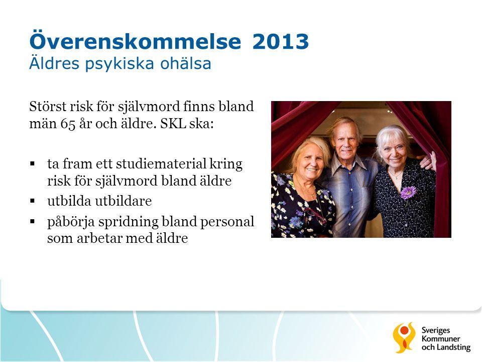 Överenskommelse 2013 Äldres psykiska ohälsa Störst risk för självmord finns bland män 65 år och äldre. SKL ska:  ta fram ett studiematerial kring ris