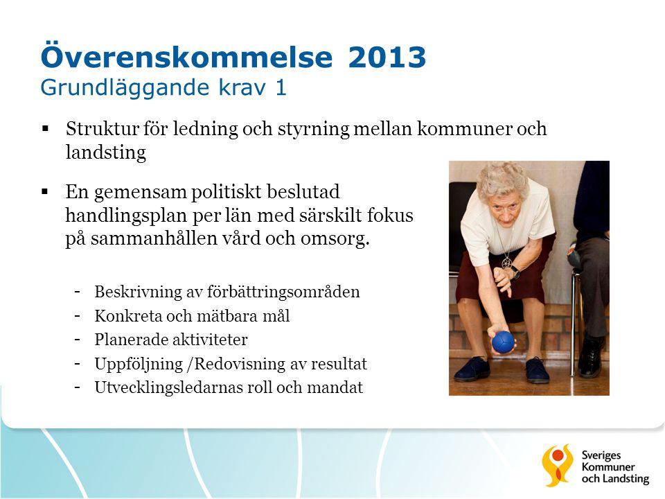 Överenskommelse 2013 Grundläggande krav 2 Kommuner och landsting (var för sig) dokumentera hur nedanstående ska bedrivas inom vård och omsorg om äldre (ett dokument per huvudman) - Riskanalys - Egenkontroll - Avvikelsehantering  Ledningssystem för systematiskt kvalitetsarbete (SOSFS 2011:9)