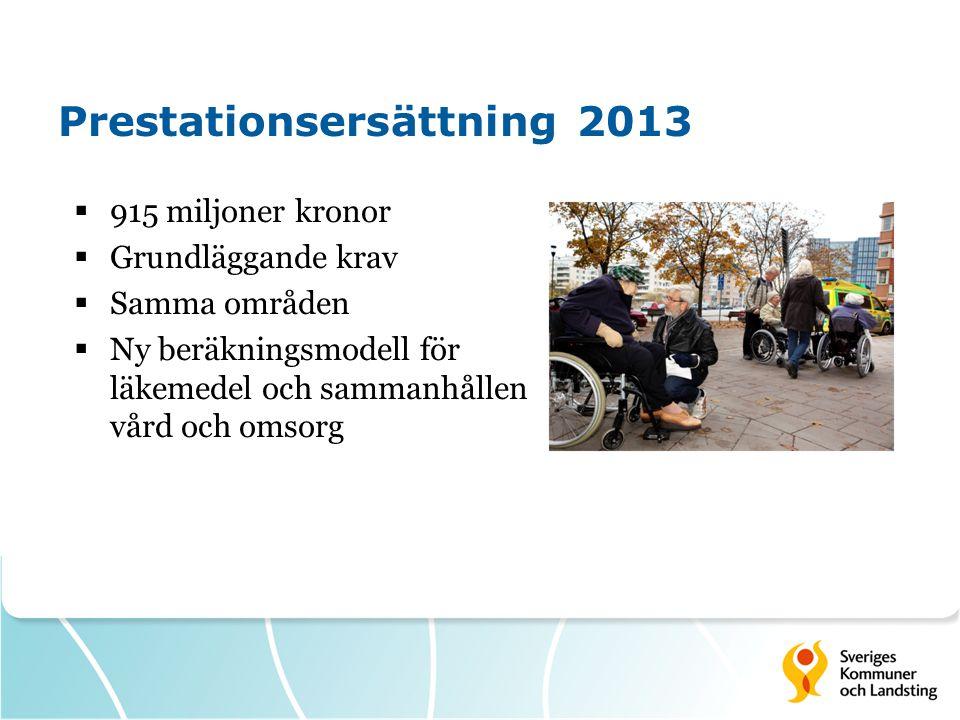 Prestationsersättning 2013  915 miljoner kronor  Grundläggande krav  Samma områden  Ny beräkningsmodell för läkemedel och sammanhållen vård och om