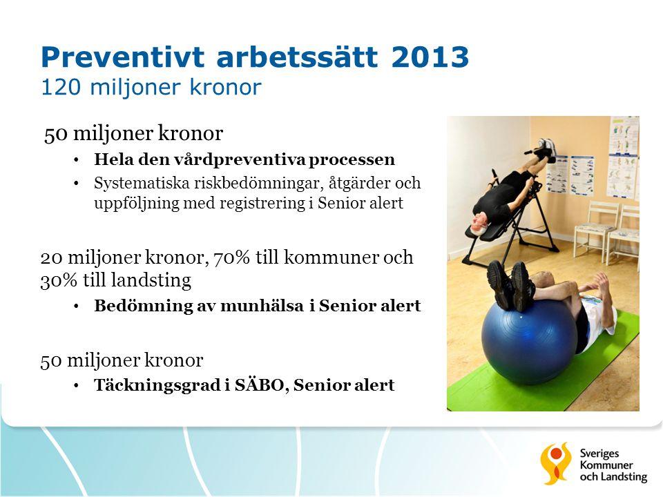 Preventivt arbetssätt 2013 120 miljoner kronor 50 miljoner kronor Hela den vårdpreventiva processen Systematiska riskbedömningar, åtgärder och uppfölj