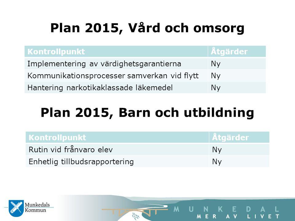 Plan 2015, Vård och omsorg KontrollpunktÅtgärder Implementering av värdighetsgarantiernaNy Kommunikationsprocesser samverkan vid flyttNy Hantering nar