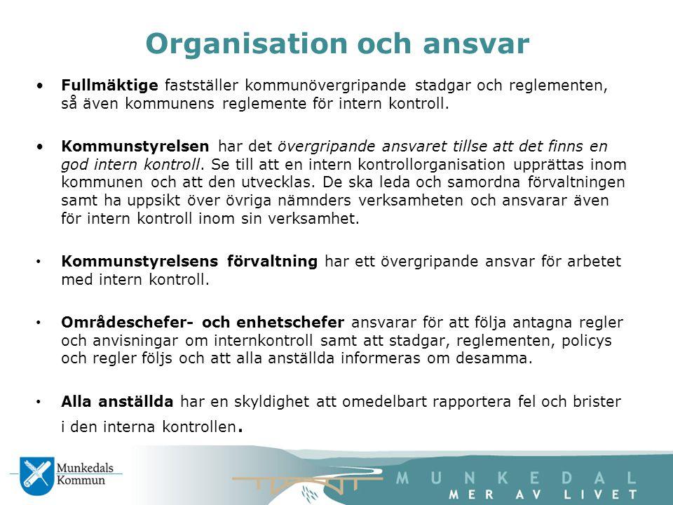 Organisation och ansvar Fullmäktige fastställer kommunövergripande stadgar och reglementen, så även kommunens reglemente för intern kontroll. Kommunst