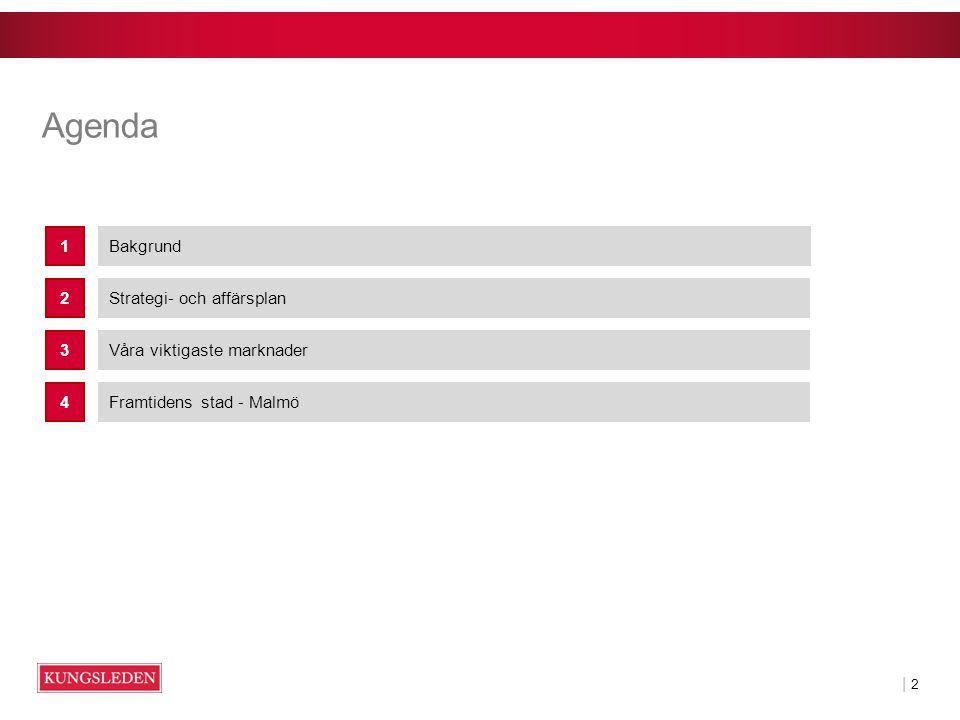 | 2| 2 Agenda Bakgrund1 Strategi- och affärsplan2 Våra viktigaste marknader3 Framtidens stad - Malmö4