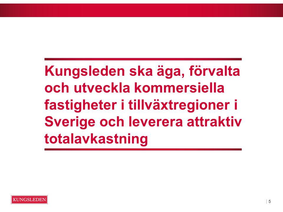 | 5| 5 Kungsleden ska äga, förvalta och utveckla kommersiella fastigheter i tillväxtregioner i Sverige och leverera attraktiv totalavkastning