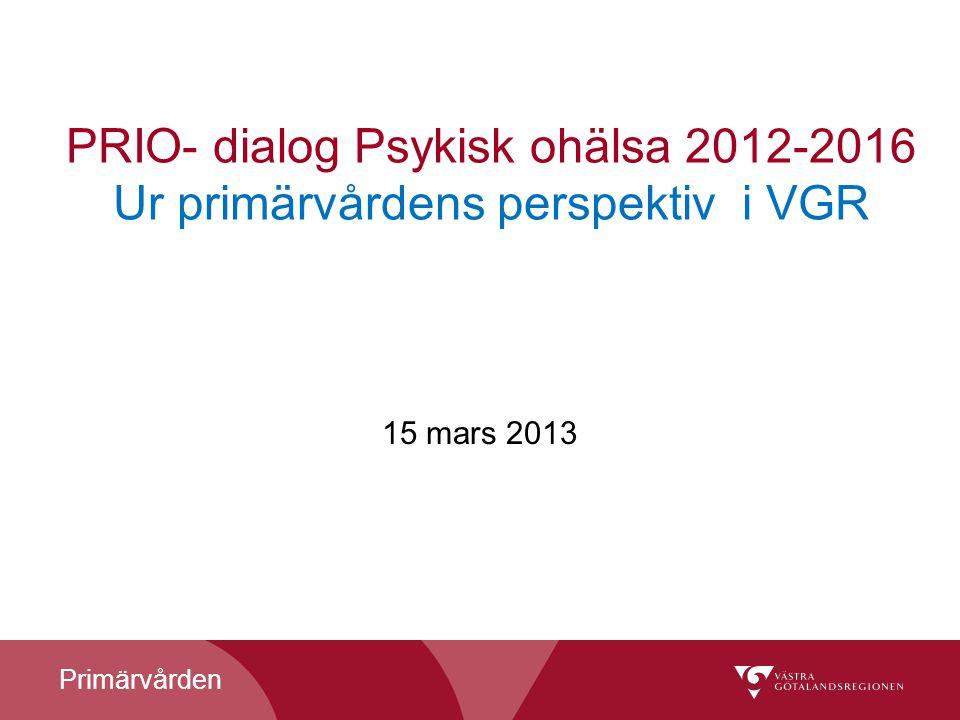 Primärvården PRIO- dialog Psykisk ohälsa 2012-2016 Ur primärvårdens perspektiv i VGR 15 mars 2013
