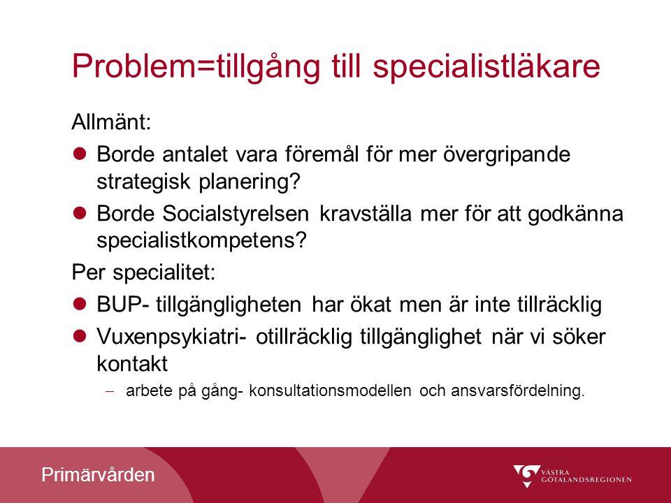 Primärvården Problem=tillgång till specialistläkare Allmänt: Borde antalet vara föremål för mer övergripande strategisk planering? Borde Socialstyrels