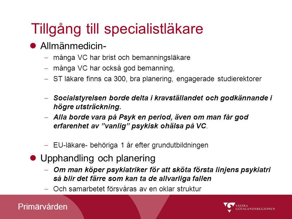 Primärvården Tillgång till specialistläkare Allmänmedicin-  många VC har brist och bemanningsläkare  många VC har också god bemanning,  ST läkare f