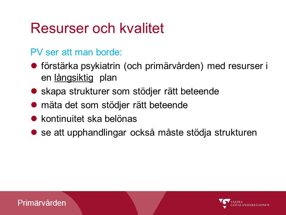 Primärvården Resurser och kvalitet PV ser att man borde: förstärka psykiatrin (och primärvården) med resurser i en långsiktig plan skapa strukturer so
