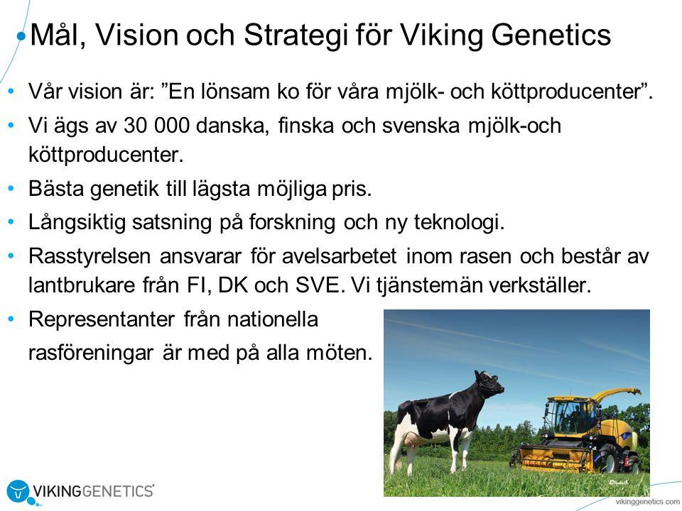 Mål, Vision och Strategi för Viking Genetics Vår vision är: En lönsam ko för våra mjölk- och köttproducenter .