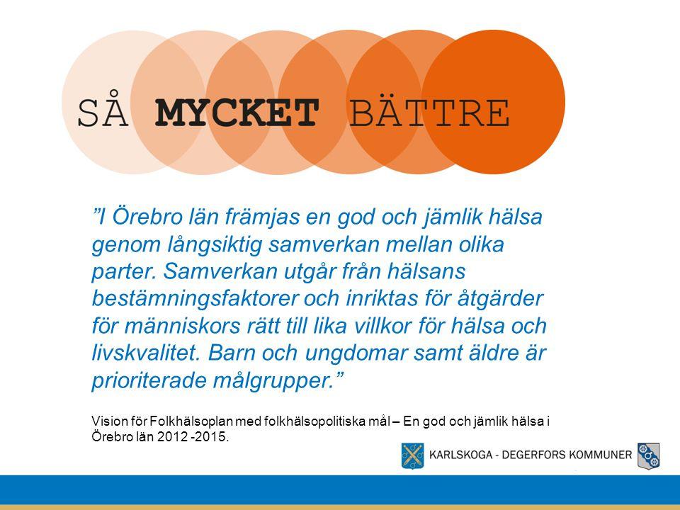 """""""I Örebro län främjas en god och jämlik hälsa genom långsiktig samverkan mellan olika parter. Samverkan utgår från hälsans bestämningsfaktorer och inr"""