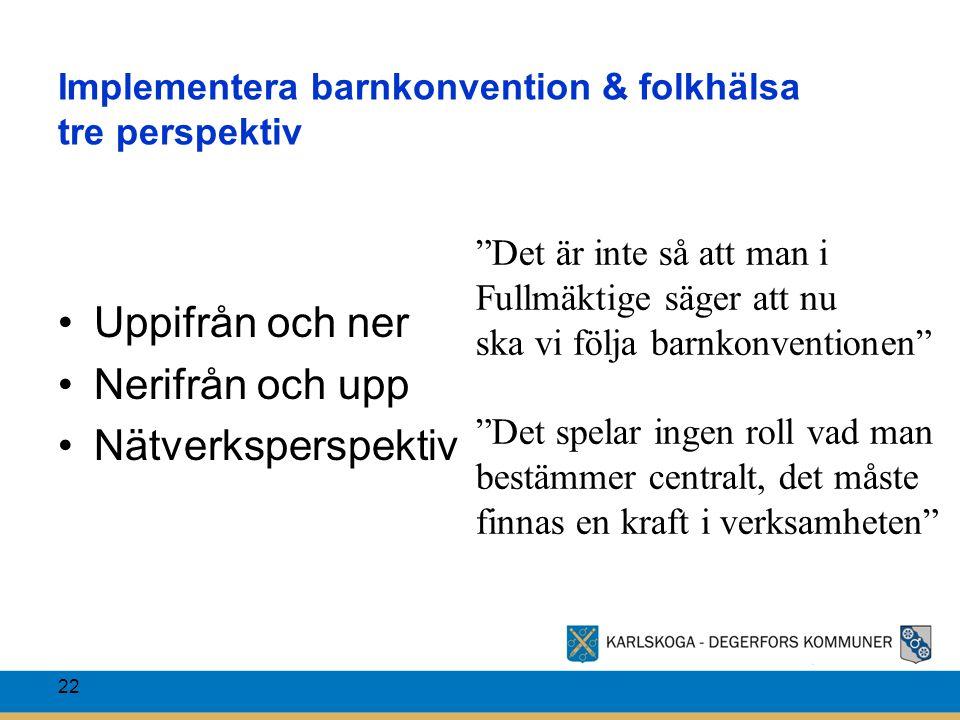 """Implementera barnkonvention & folkhälsa tre perspektiv Uppifrån och ner Nerifrån och upp Nätverksperspektiv 22 """"Det är inte så att man i Fullmäktige s"""