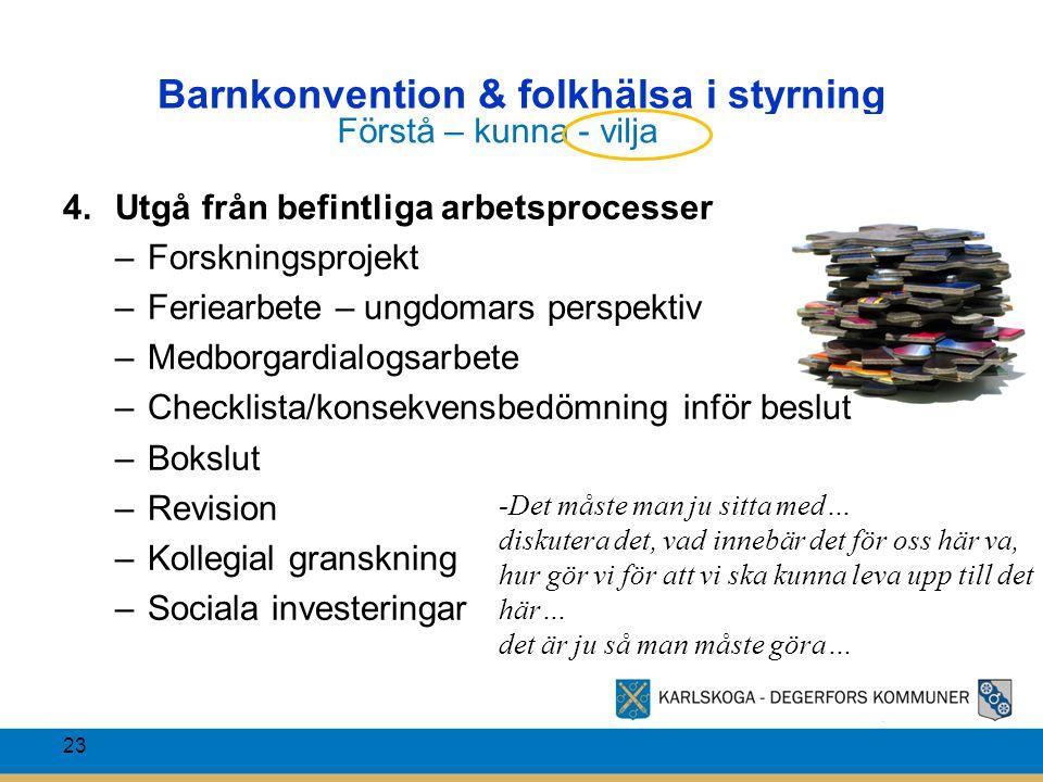 Barnkonvention & folkhälsa i styrning 23 4.Utgå från befintliga arbetsprocesser –Forskningsprojekt –Feriearbete – ungdomars perspektiv –Medborgardialo