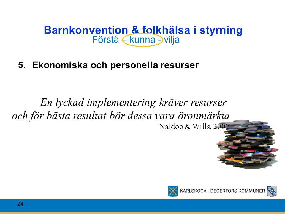Barnkonvention & folkhälsa i styrning 24 5.Ekonomiska och personella resurser En lyckad implementering kräver resurser och för bästa resultat bör dess