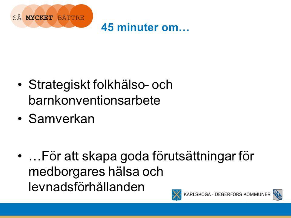 45 minuter om… Strategiskt folkhälso- och barnkonventionsarbete Samverkan …För att skapa goda förutsättningar för medborgares hälsa och levnadsförhåll